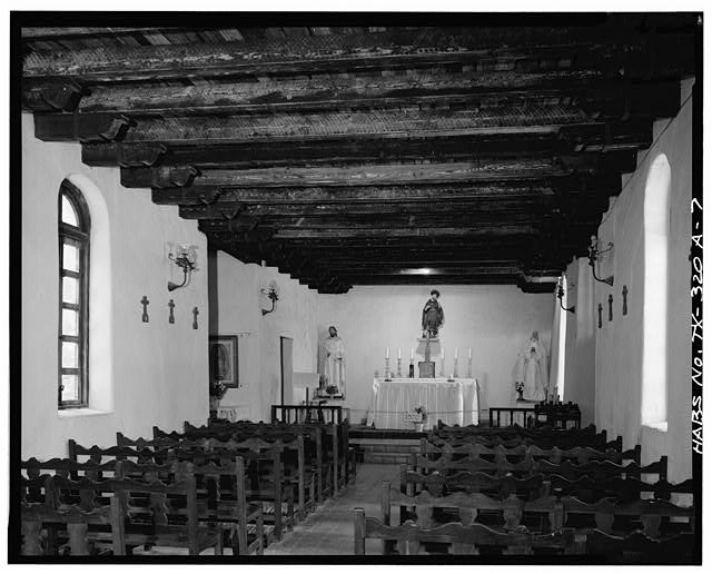 7.  CHURCH INTERIOR, LOOKING WEST TOWARD ALTAR - Mission San Francisco de la Espada, Church, Berg's Mill Community, San Antonio, Bexar County, TX