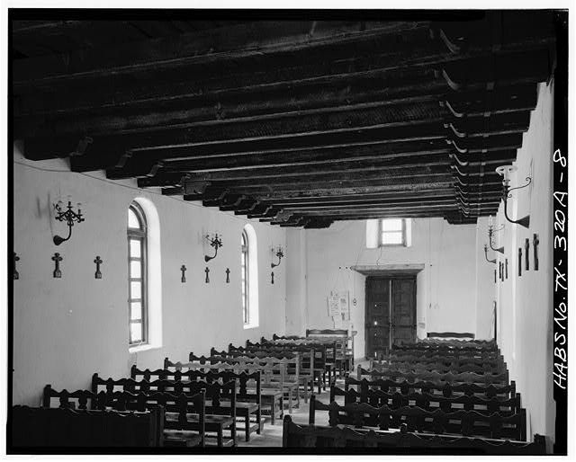 8.  CHURCH INTERIOR, LOOKING EAST. TOWARD ENTRANCE - Mission San Francisco de la Espada, Church, Berg's Mill Community, San Antonio, Bexar County, TX