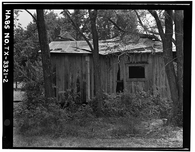 2.  NORTH REAR ELEVATION SHOWING SHED ADDITION (copy negative, original 35 mm negative in field records) - Thomas Jefferson Walling Log Cabin, Henderson, Rusk County, TX