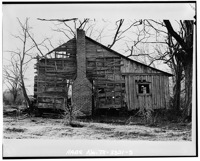 3.  EAST SIDE ELEVATION SHOWING CHIMNEY-FIREPLACE SPACE, LATER CHIMNEY, SHED ROOM AND ROOF PITCH (4 x 5 negative) - Thomas Jefferson Walling Log Cabin, Henderson, Rusk County, TX