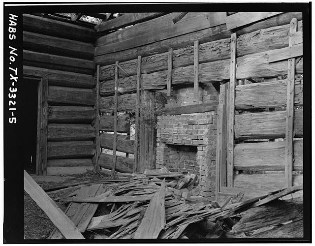 5.  EAST (FIREPLACE) WALL INTERIOR SHOWING ORIGINAL FIREPLACE OPENING, LATER CHIMNEY AND SMALL WINDOW TO LEFT OF FIREPLACE (4 x 5 negative) - Thomas Jefferson Walling Log Cabin, Henderson, Rusk County, TX