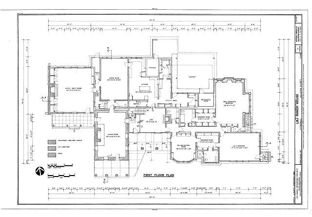First floor plan - Lyndon B. Johnson Ranch, House, Park Road 49, Stonewall, Gillespie County, TX