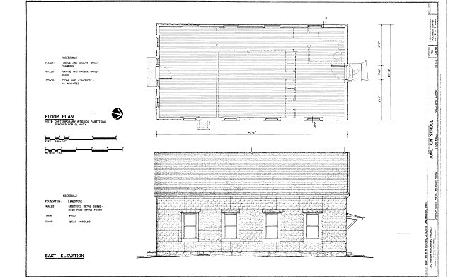 Floor plan and east elevation - Lyndon B. Johnson Ranch, Junction School, Ranch Road 49 at Reagan Road, Stonewall, Gillespie County, TX