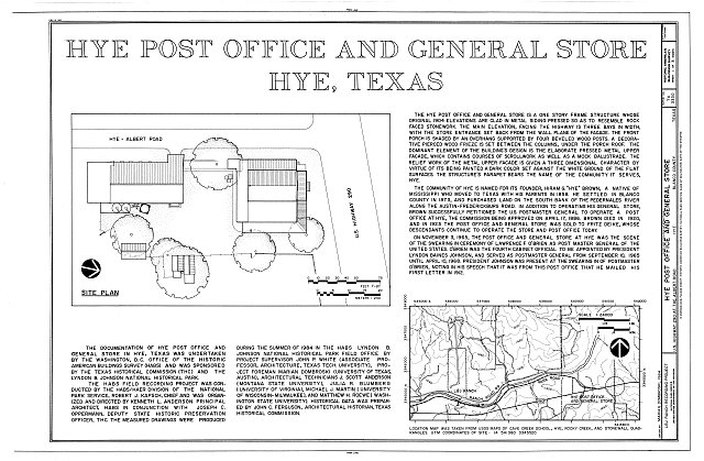 HABS TEX,16-HYE,1A- (sheet 1 of 3) - Hye Post Office & General Store, Hye, Blanco County, TX