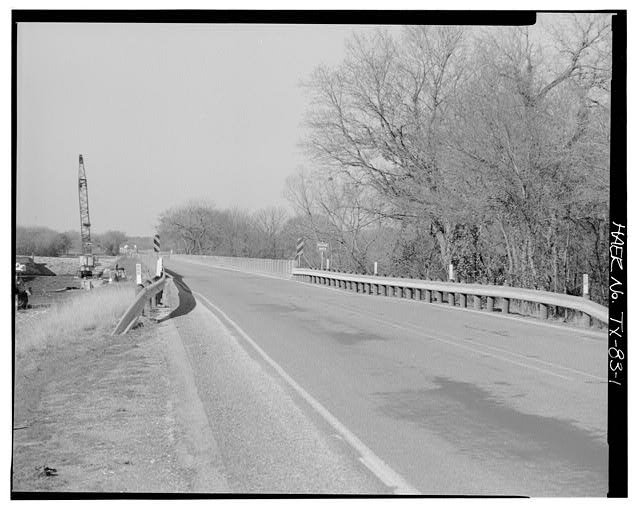 1.  GENERAL VIEW OF NORTH BOSQUE RIVER BRIDGE, EAST APPROACH, LOOKING WEST. - North Bosque River Bridge, Spanning North Bosque River at State Highway 6, Clairette, Erath County, TX