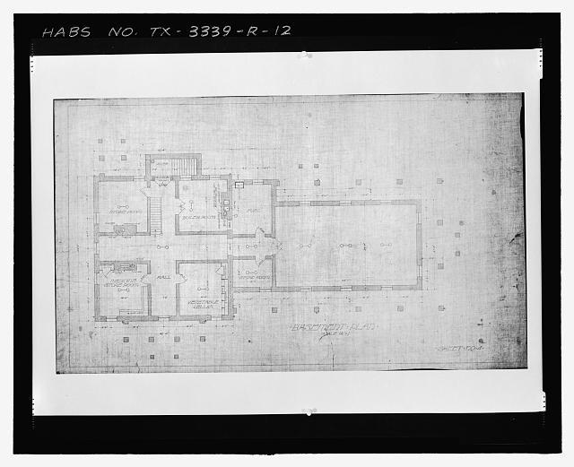 Photographic copy of Sheet No. 4 (undated): BASEMENT PLAN - Fort Bliss, Post Hospital, Pershing Road, El Paso, El Paso County, TX