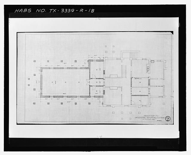 Photographic copy of Sheet No. 2 (1912): UNTITLED (Basement Plan) - Fort Bliss, Post Hospital, Pershing Road, El Paso, El Paso County, TX
