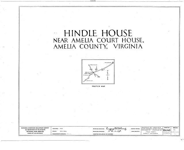 HABS VA,4-AMELCH.V,1- (sheet 0 of 2) - Woodlands, Amelia Courthouse vicinity, Amelia Court House, Amelia County, VA