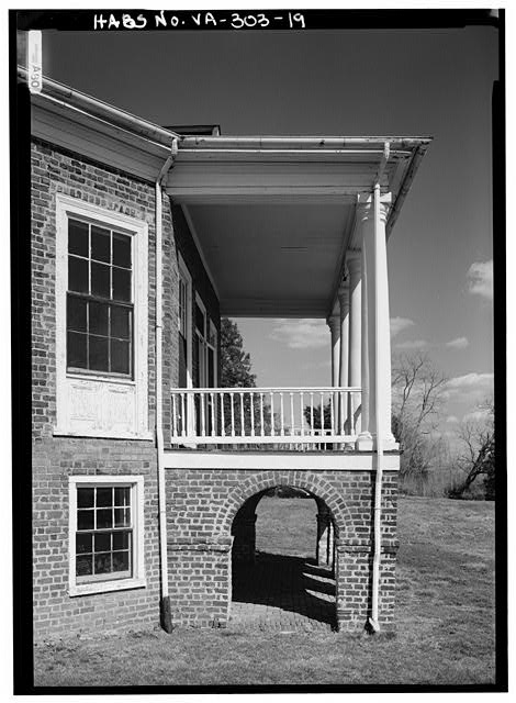 DETAIL VIEW OF WEST ELEVATION OF SOUTH PORCH INCLUDING WINDOW ON SECOND FLOOR (SEE VA-303-48) (1986) - Poplar Forest, State Route 661, Forest, Bedford County, VA