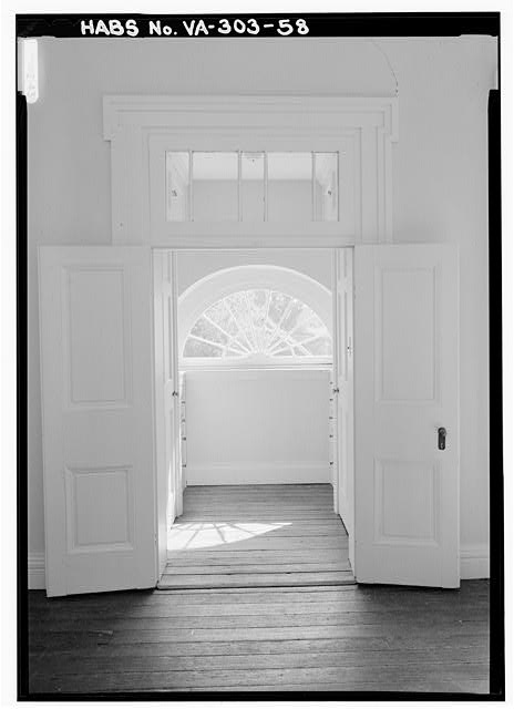 VIEW OF FIRST FLOOR, EAST SIDE TO EAST CLOSET SHOWING FANLIGHT (1987) - Poplar Forest, State Route 661, Forest, Bedford County, VA