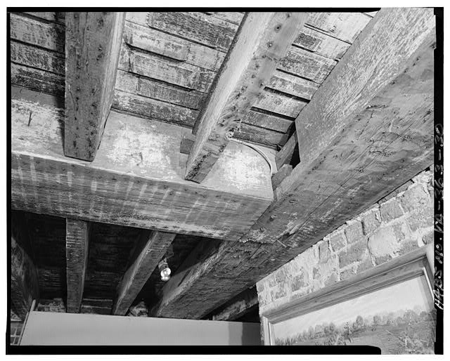 35.  DETAIL, CEILING BEAMS IN CELLAR ROOM LOCATED IN SOUTHEAST CORNER OF HOUSE - Berkeley, State Route 5 vicinity, Charles City, Charles City, VA