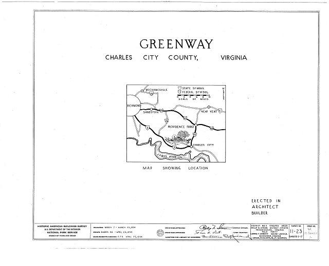 HABS VA,19-CHARC.V,1- (sheet 0 of 17) - Greenway, State Route 5 vicinity, Charles City, Charles City, VA