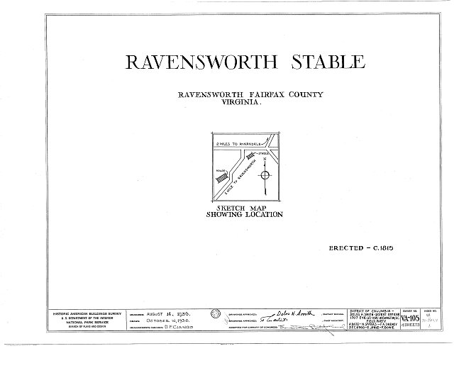 HABS VA,30-RAV.V,1- (sheet 0 of 4) - Ravensworth, House & Stable, 5200 Port Royal Road, Ravensworth, Fairfax County, VA