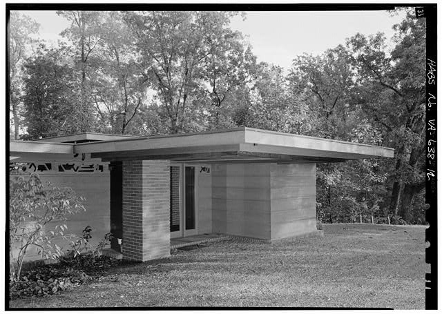 12.  Detail, west front, carport and entrance, from the northwest - Pope-Leighey House, 9000 Richmond Highway (moved from Falls Church, VA), Mount Vernon, Fairfax County, VA