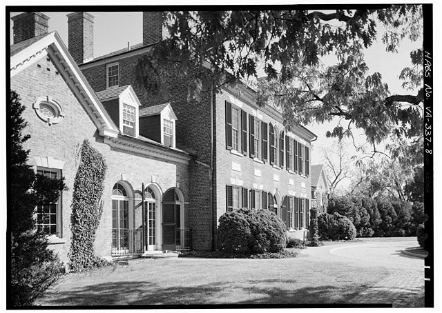 8.  WEST FRONT, FROM THE NORTHWEST (CLOSER, MORE OBLIQUE VIEW) - Woodlawn, 9000 Richmond Highway, Mount Vernon, Fairfax County, VA