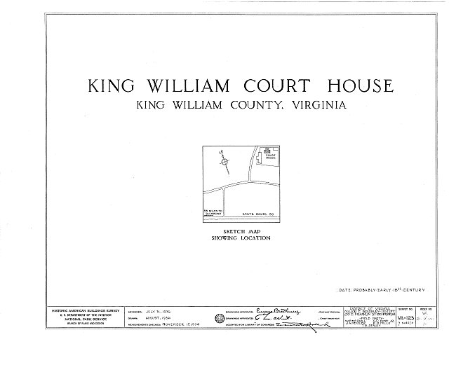HABS VA,51-KIWI,1- (sheet 0 of 7) - King William County Courthouse & Stable, State Route 619, King William, King William County, VA