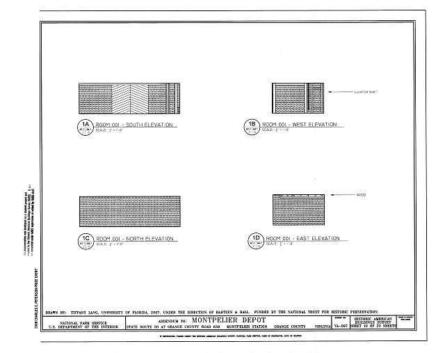 Elevations of Room 001 - Montpelier Depot, State Route 20 at Orange County Road 639, Montpelier Station, Orange County, VA