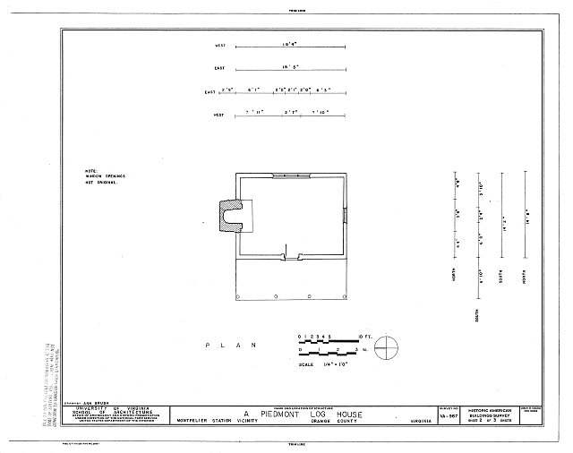 HABS VA,69-MONTS.V,1- (sheet 2 of 3) - Piedmont Log House, Near Junction of State Routes 20 & 639, Montpelier Station, Orange County, VA