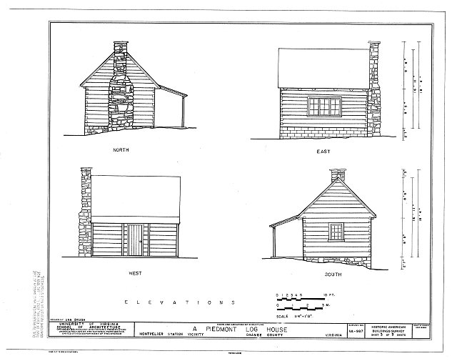 HABS VA,69-MONTS.V,1- (sheet 3 of 3) - Piedmont Log House, Near Junction of State Routes 20 & 639, Montpelier Station, Orange County, VA