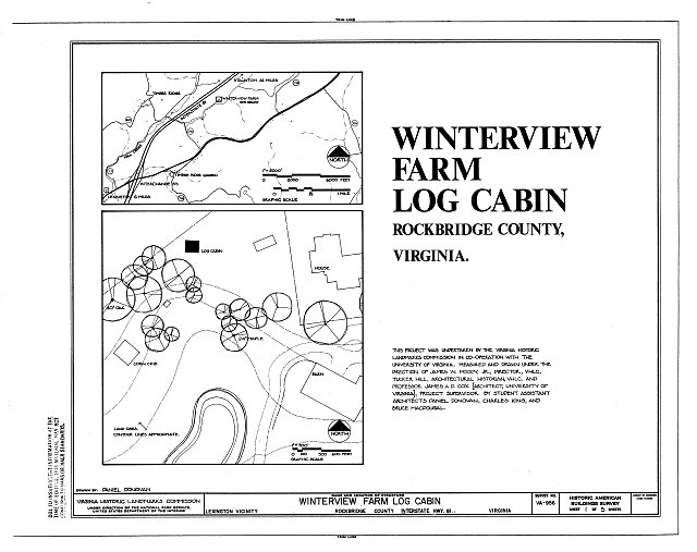 HABS VA,82-LEX.V,2- (sheet 1 of 5) - Winterview Farm Log Cabin, Interstate Highway 81, Lexington, Lexington, VA