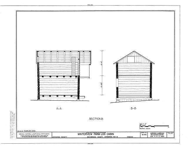HABS VA,82-LEX.V,2- (sheet 4 of 5) - Winterview Farm Log Cabin, Interstate Highway 81, Lexington, Lexington, VA