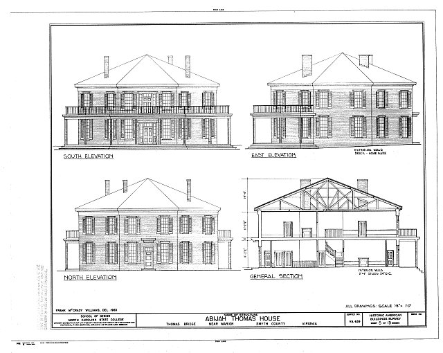 HABS VA,87-MAR.V,1- (sheet 5 of 13) - Abijah Thomas House, Thomas Bridge Road, Marion, Smyth County, VA
