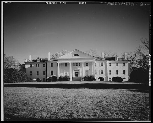 West (front) elevation, view looking east - Montpelier, 13480 South Montpelier Road, Montpelier Station, Orange County, VA