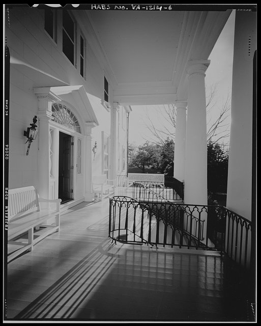 Detail, west (front), main entrance, portico deck and portico stair, view looking south - Montpelier, 13480 South Montpelier Road, Montpelier Station, Orange County, VA