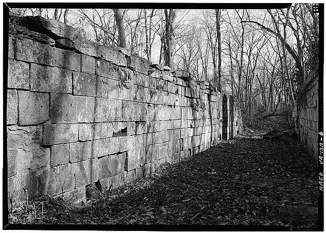 6.  East wall of Lock 1. 1971. - Potowmack Company: Great Falls Canal, Lock No. 1, Great Falls, Fairfax County, VA