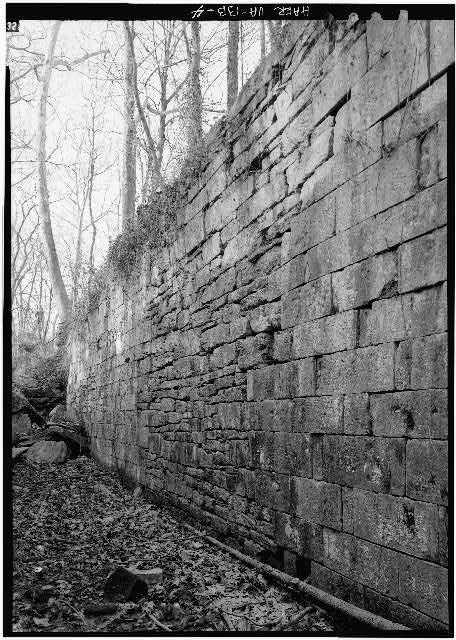 4.  East wall of Lock 2 showing masonry repairwork. 1971. - Potowmack Company: Great Falls Canal, Lock No. 2, Great Falls, Fairfax County, VA