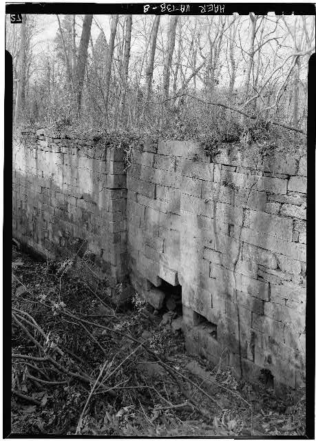 8.  South end of Lock 2 showing gate recess in east wall. 1971. - Potowmack Company: Great Falls Canal, Lock No. 2, Great Falls, Fairfax County, VA