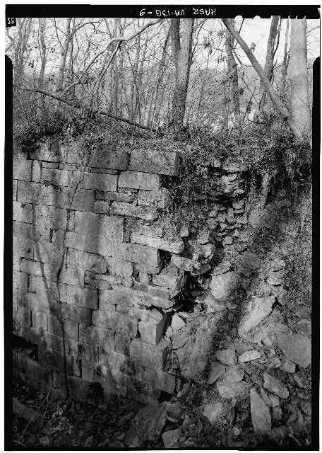 9.  South end of Lock 2 showing deterioration of east wall. 1971. - Potowmack Company: Great Falls Canal, Lock No. 2, Great Falls, Fairfax County, VA