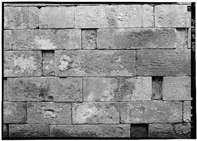 11.  Detail of stone work in east wall of Lock 2. 1971. - Potowmack Company: Great Falls Canal, Lock No. 2, Great Falls, Fairfax County, VA
