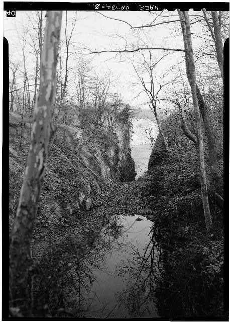 2.  Looking SE through the cut where Locks 3, 4 and 5 were located. 1971. - Potowmack Company: Great Falls Canal, Locks No. 3, 4, 5, Great Falls, Fairfax County, VA