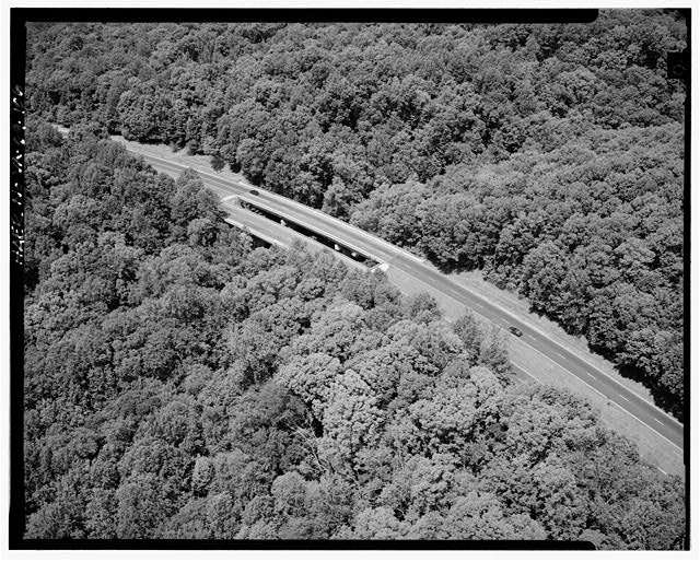 106.  AERIAL VIEW OF DEAD RUN BRIDGE LOOKING EAST. - George Washington Memorial Parkway, Along Potomac River from McLean to Mount Vernon, VA, Mount Vernon, Fairfax County, VA