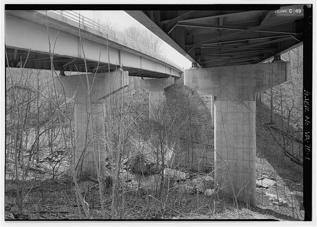 1.  UNDERSIDE VIEW WITH PIERS AND STEEL GIRDERS FROM BELOW LOOKING NORTHWEST. - Dead Run Bridge, Spanning Dead Run, McLean, Fairfax County, VA