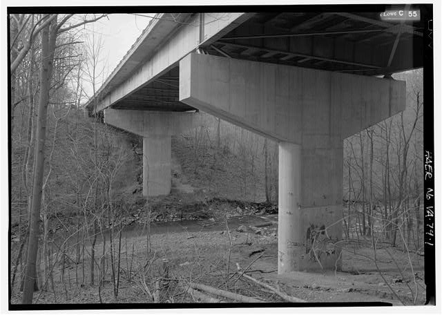 1.  UNDERSIDE OF BRIDGE AND PIERS LOOKING NORTHWEST WITH PIMMIT RUN. - Pimmit Run Bridge, Pimmit Run, McLean, Fairfax County, VA