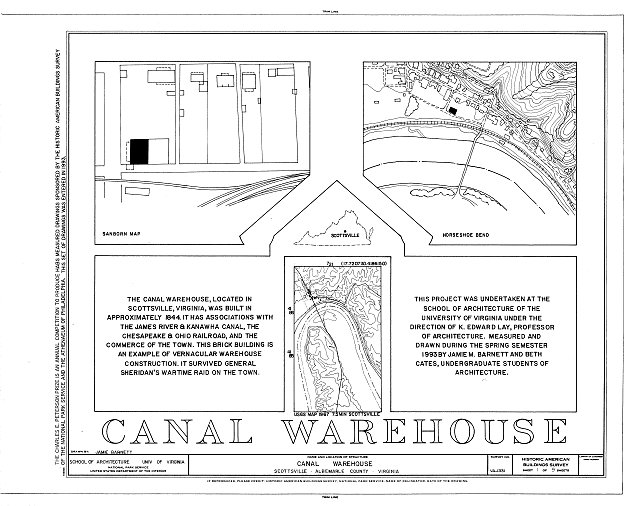 HABS VA,2-SCOTS,9- (sheet 1 of 9) - Canal Warehouse, Scottsville, Albemarle County, VA