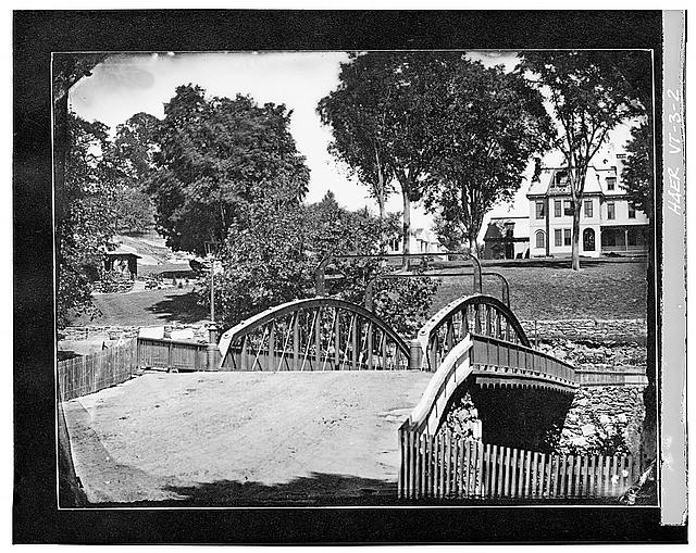 2.  Photocopy of photograph (Original in possession of Woodstock Historical Society) date unknown. Reproduced by permission. LOOKING NORTH TOWARDS GEORGE PERKINS MARSH HISTORICAL LANDMARK - Elm Street Bridge, Spanning Ottauquechee River, Woodstock, Windsor County, VT