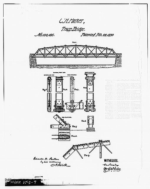 9.  Photocopy of Charles H. Parkers Patent (Original in possession of United States Patent Office) PATENT DRAWING OF C. H. PARKER TRUSS BRIDGE - Elm Street Bridge, Spanning Ottauquechee River, Woodstock, Windsor County, VT