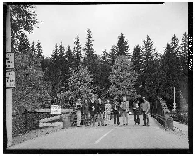 25.  HAER RECORDING TEAM STANDING ON NORTHWEST END OF BRIDGE - Elm Street Bridge, Spanning Ottauquechee River, Woodstock, Windsor County, VT