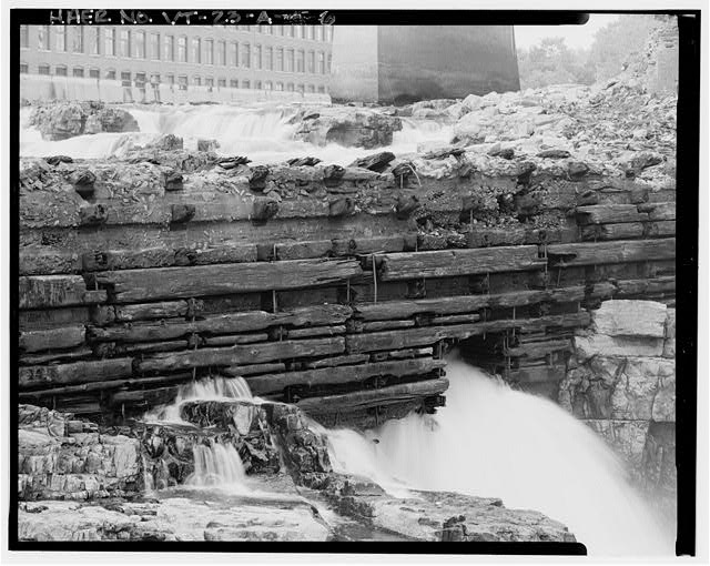 6.  DETAIL OF DOWNSTREAM FACE AND EAST WATERWAY, VIEW NORTHEAST FROM WEST BANK - Burlington Woolen Mill Company, Dam, Winooski River, West of Bridge carrying U.S. Route 2&7, Burlington, Chittenden County, VT