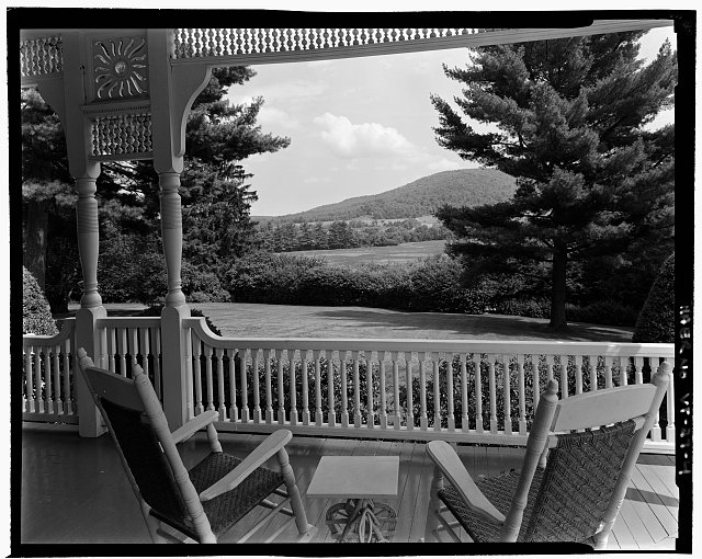 BILLINGS FARM AND BLAKE HILL FROM MANSION PORCH. VIEW E - Marsh-Billings-Rockefeller Carriage Roads, Woodstock, Windsor County, VT