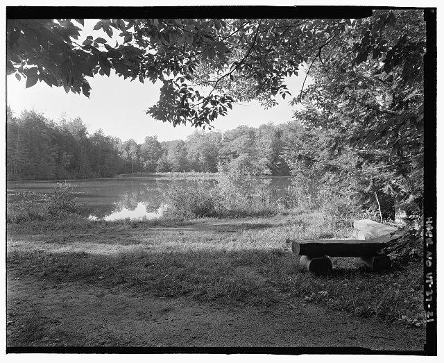 VIEW OF POGUE FROM BENCH TOWARD DAM. VIEW SSW - Marsh-Billings-Rockefeller Carriage Roads, Woodstock, Windsor County, VT