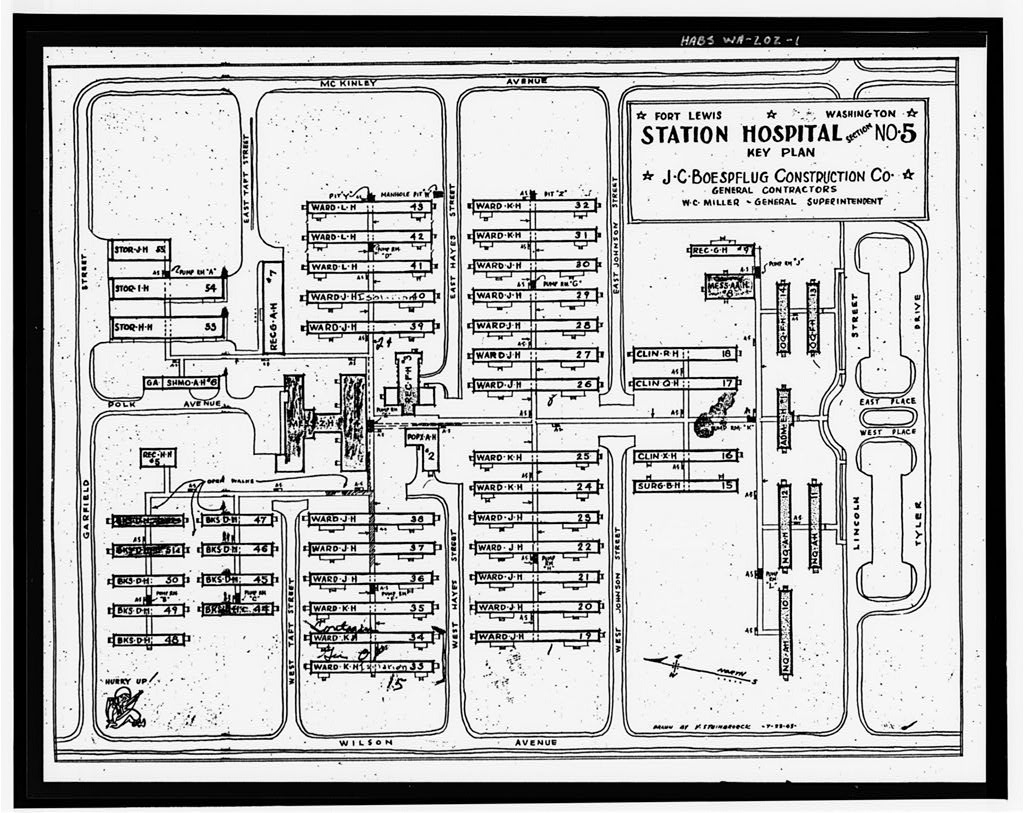 1 1943 Plan View Of Fort Lewis Station Hospital Section