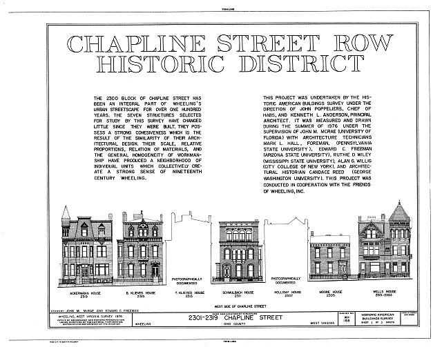 HABS WVA,35-WHEEL,9- (sheet 1 of 3) - Chapline Street Row Historic District, 2301-2319 Chapline Street, Wheeling, Ohio County, WV