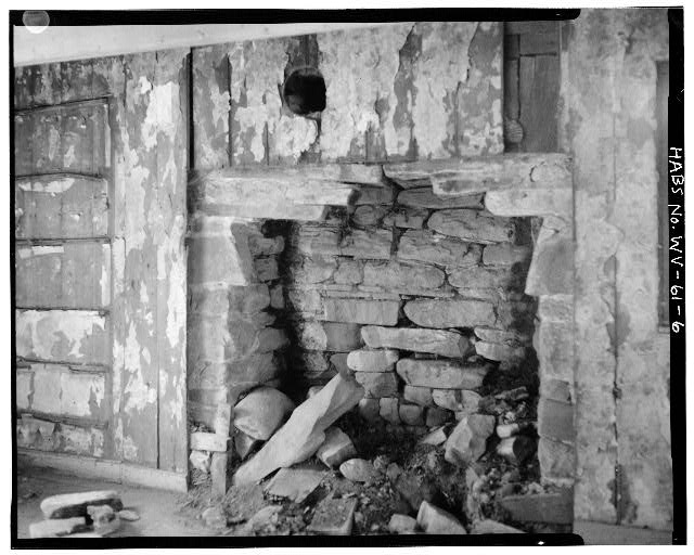 6.  FIRST FLOOR, FIREPLACE ON WEST WALL (LOG PORTION OF HOUSE) LOOKING SOUTHWEST - Sites Homestead, Monongahela National Forest (Tract 390) East of Route 28, Seneca Rocks, Pendleton County, WV