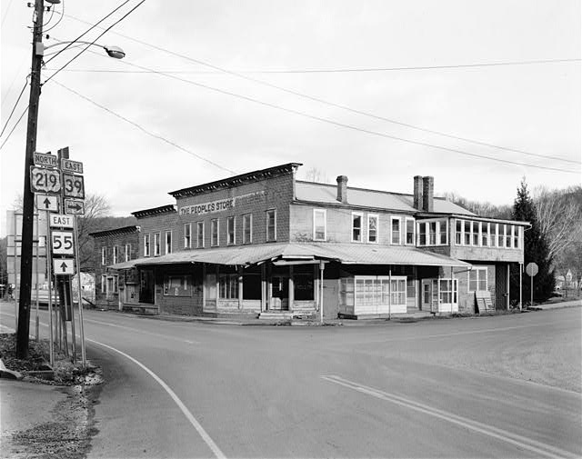 1.  VIEW NORTHEAST, WEST AND SOUTH FACES - People's Store, Intersection of Routes 39 & 219, Marlinton, Pocahontas County, WV
