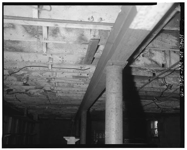 10.  Basement, view north of floor joists - Campbells Creek Coal Company Store, 54 Port Amherst Drive, Campbells Creek vicinity, Charleston, Kanawha County, WV