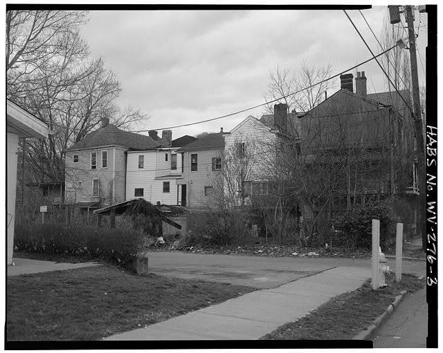 3.  View northwest, rear, 184 Zane Street on far left - 184 Zane Street (House), Wheeling, Ohio County, WV